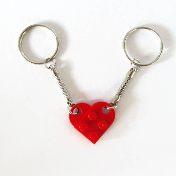 Couples Keychain Valentines Day Gift Red Heart Black Etsy
