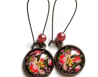 Earrings floral motif in traditional Russian / Polish Slavic folklore, glass cabochons