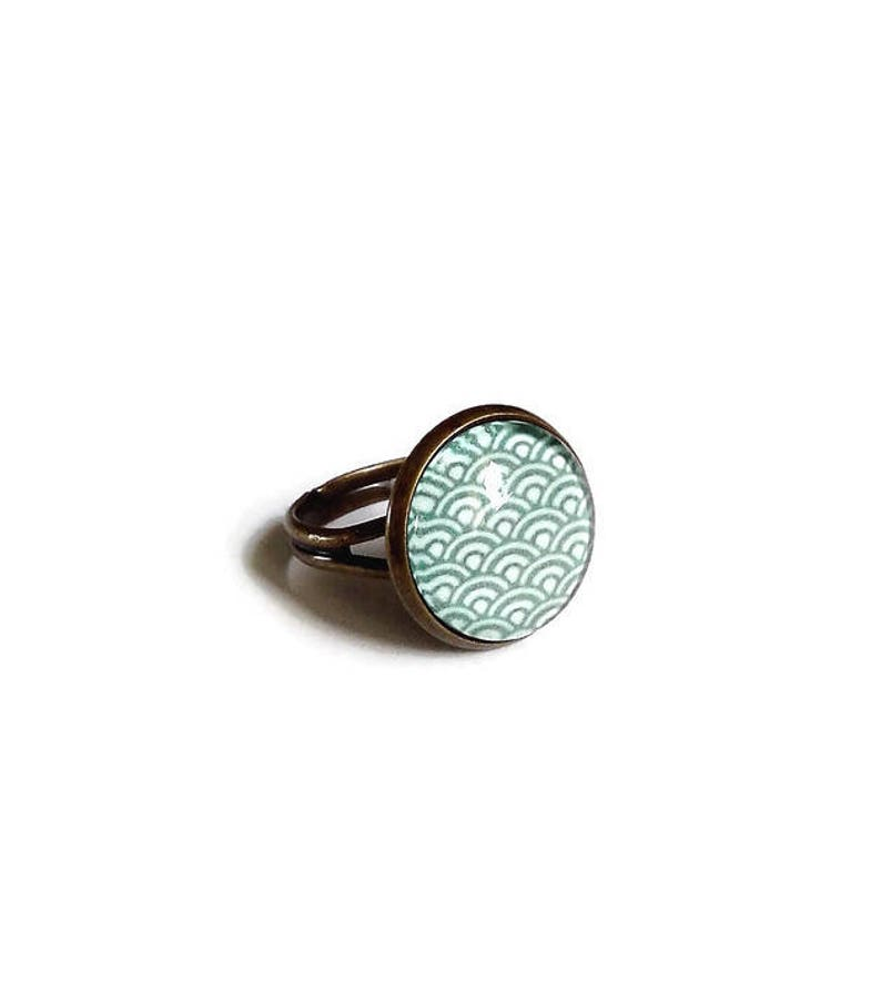 earthy Japan Small bronze ring wave Japanese blue green the fairy carabochon glass cabochon