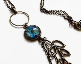 necklace, Peacock feather, leaf Blue mid-length bronze glass cabochon
