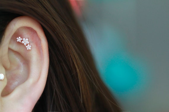 Sold as Pair 316L Surgical Steel Helix Studs 18g Outside Conch Earrings Jewelry Avalanche 5-Stone Yellow Cartilage Earrings Clear OR Aurora Borealis CZ Accent