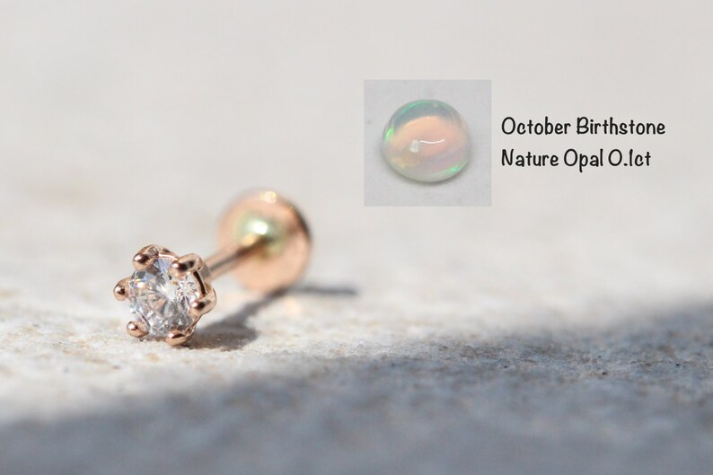 7e97beba4 October Birthstone Opal 14K Gold Flat back | Etsy