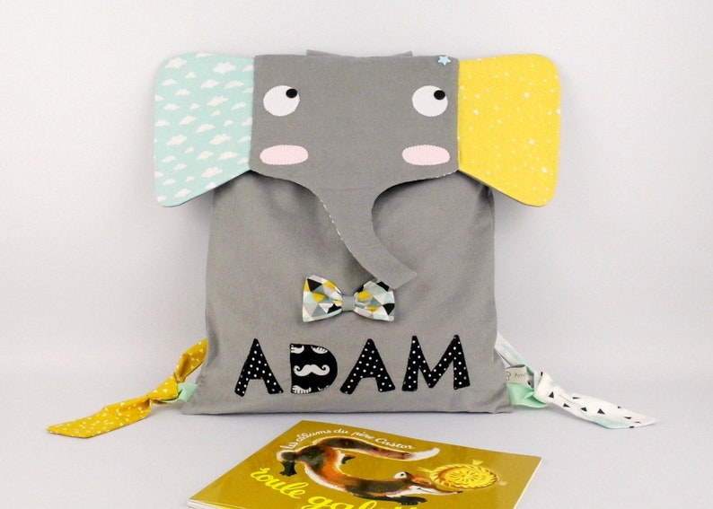 Native bag surname Adam backpack personalized Elephant nursery personalized birth anniversary gift mother child satchel