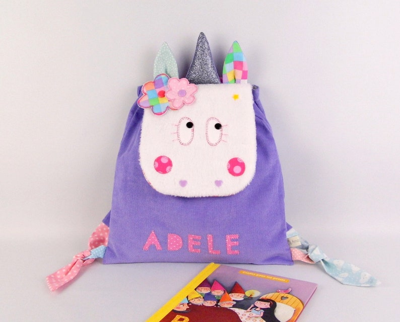 Kids backpack personalized Unicorn Adele satchel personalized name girl back first kindergarten snack bag colors