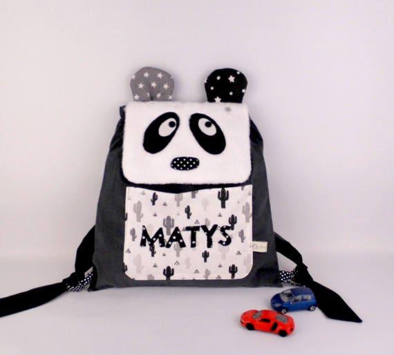 magasin d'usine 54286 e74df Sac à dos Panda personnalisable prénom Matys école maternelle crèche sac  brodé panda cactus noir blanc gris idée cadeau enfant naissance