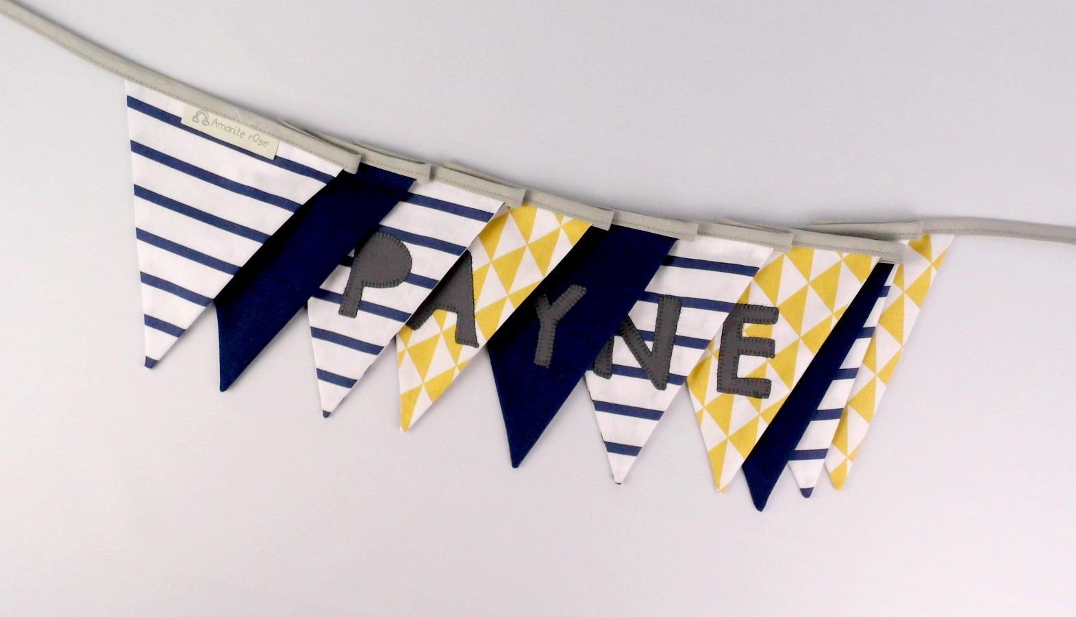 Fanion Chambre Bébé Garcon banderole fanions chambre enfant brodée prénom payne jaune moutarde bleu  marine rayé navy guirlande déco chambre bébé personnalisée