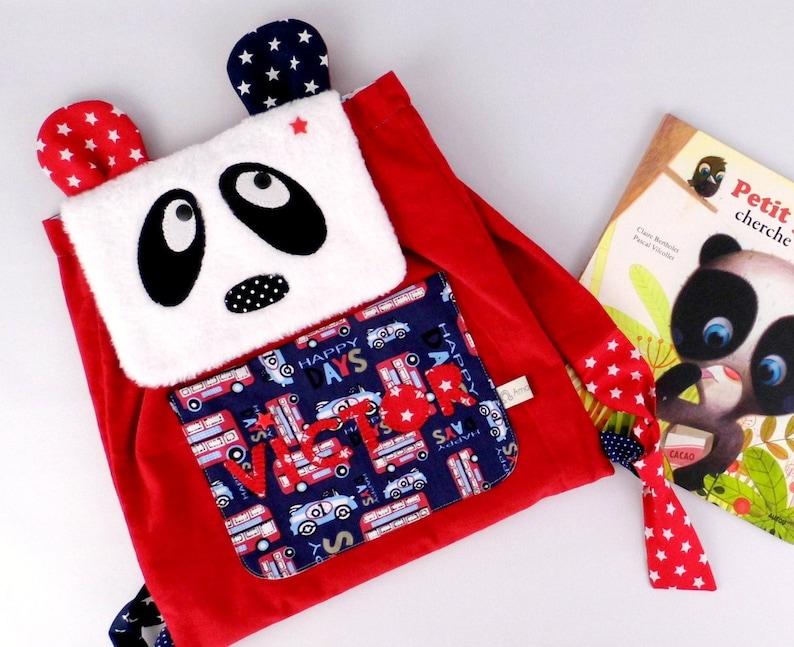 Backpack nursery personalized name Ella panda bag personalized baby gift nursery child Christmas birth gray pink satchel child