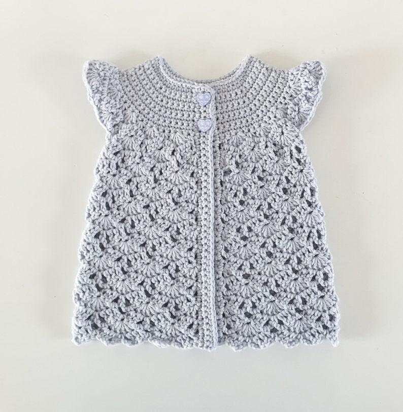 Organic Cotton Baby Crochet Cardigan in Purple Eco-Friendly image 0