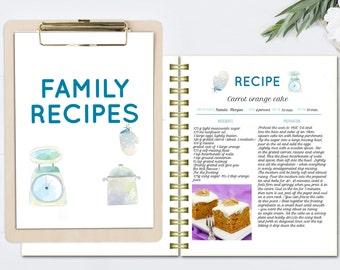 Watercolor editable cookbook, printable recipe template,  recipe page pattern, blank cookbook, recipe organizer, letter size editable doc