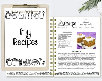 editable cook book recipe template recipe pages pattern etsy