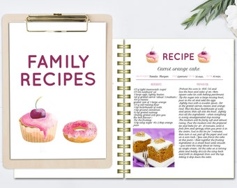 personalized recipe book template editable recipe pages and etsy