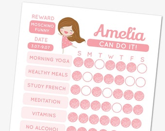 pink girl habit tracker template editable goal tracker printable chore chart planner pages weekly habit planner habit checklist