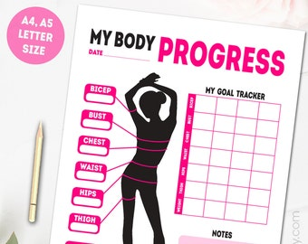 printable health and fitness planner measurement and weight etsy
