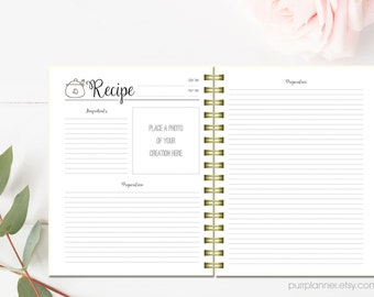 Printable recipe pages, cook book binder, letter size recipe book,personal recipe organizer, blank recipe card, kitchen home decor