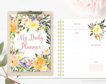 Floral daily planner, printable planner inserts, desk planner, daily agenda, to do list, today schedule, Letter size, instant download