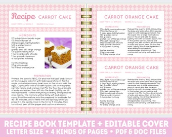 recipe book template pdf doc editable recipe pages etsy