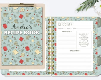 Personalized Recipe Book Printable Binder Kit Blank Pages Custom Organizer Mint Cook Divider Tabs