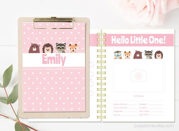 Cute Pink Printable Baby Girl Photo Album Babys First Etsy