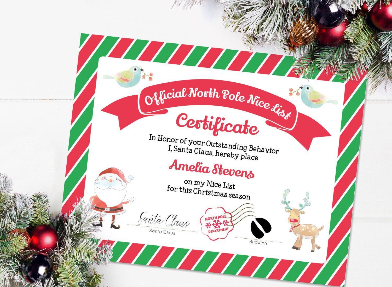 Printable Santa Nice List Nice Certificate Template Editable Etsy
