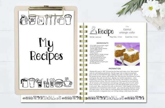 black and white recipe book template editable recipe pages etsy