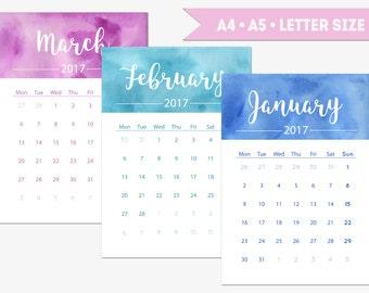 Printable 2017 calendar, watercolor 12 month calendar, vertical desk calendar, portrait monthly wall calendar, A4, A5, Letter size