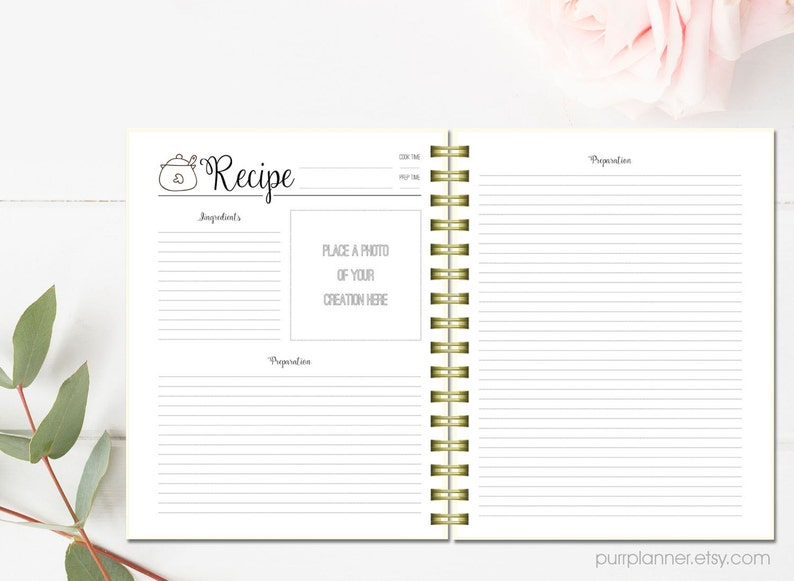 photo about Printable Recipe Pages named Printable recipe web pages, prepare dinner guide binder, letter dimensions recipe e book,specific recipe organizer, blank recipe card, kitchen area house decor