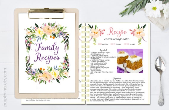 Floral Printable Cook Book Editable Recipe Template Recipe Etsy