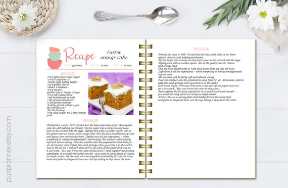 printable recipe template coral and mint editable cookbook etsy