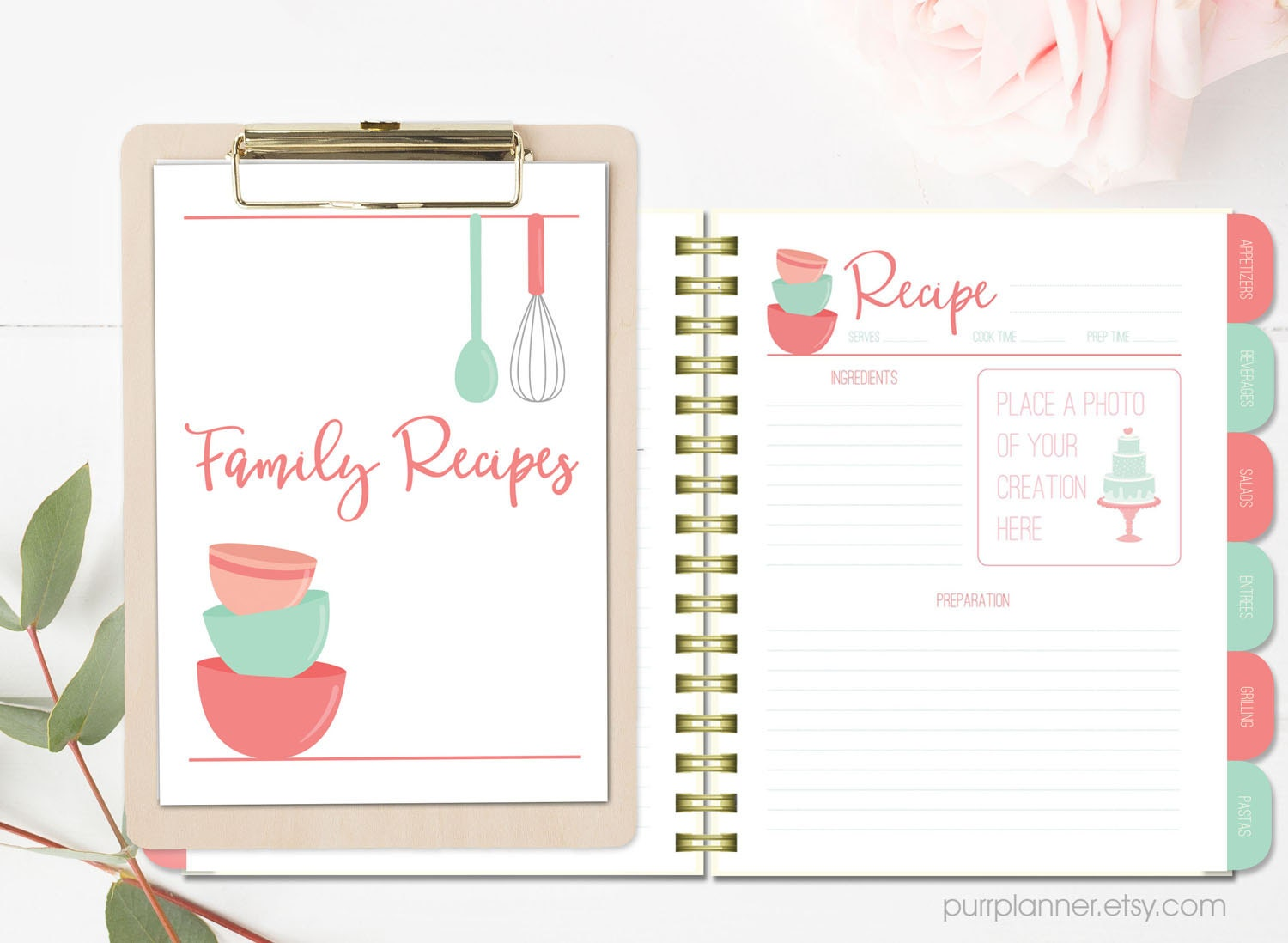 photograph regarding Free Printable Recipe Binder Kit titled Printable recipe binder package, blank cookbook, coral and mint recipe webpages, divider tabs and web pages, recipe organizer, bridal shower reward