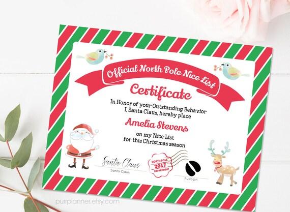 Printable Santa Nice List Nice Certificate Template Editable Note From Santa North Pole Letter Christmas Printables Doc File