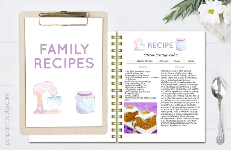 Recipe Template Editable Cook Book Doc Template Printable Etsy
