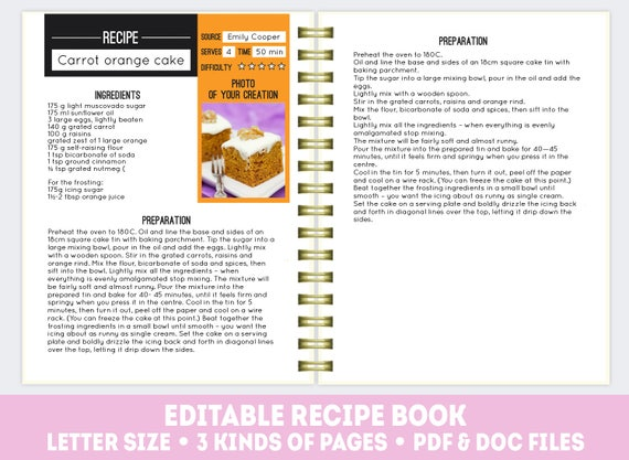 Recipe Page Template | Recipe Book Template Pdf Doc Editable Recipe Pages Etsy