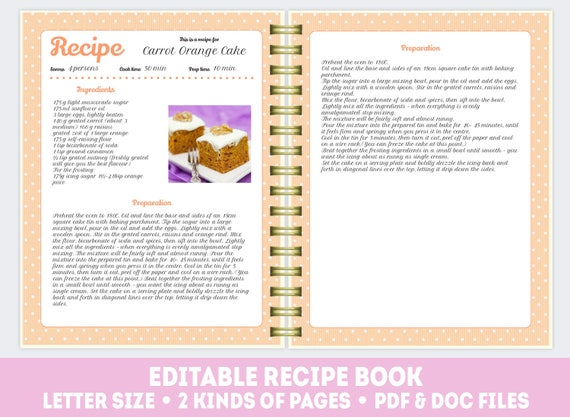 recipe template cook book doc pdf pattern editable recipe etsy