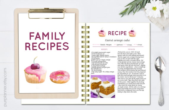 printable recipe book recipe template editable recipe pages etsy