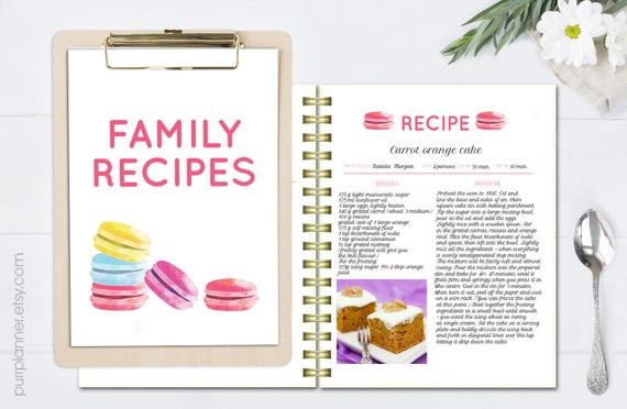Watercolor recipe template printable cook book editable recipe watercolor recipe template printable cook book editable recipe cards recipe pages pattern blank recipe book doc file letter size from purrplanner on thecheapjerseys Choice Image