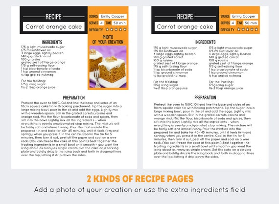 Recipe Book Template PDF DOC Editable Pages