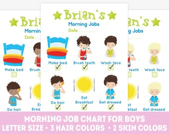Printable boy daily chores, morning chore chart, kids morning jobs, children's chores, morning routine, kids chore chart, Letter size