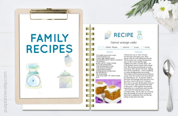 watercolor editable cookbook printable recipe template etsy