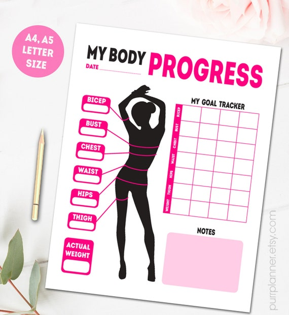 printable body measurements fitness goal tracker weight loss tracker progress log health journal letter size a4 a5
