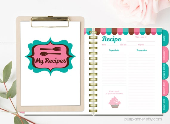 printable recipe book blank cookbook teal and pink recipe etsy