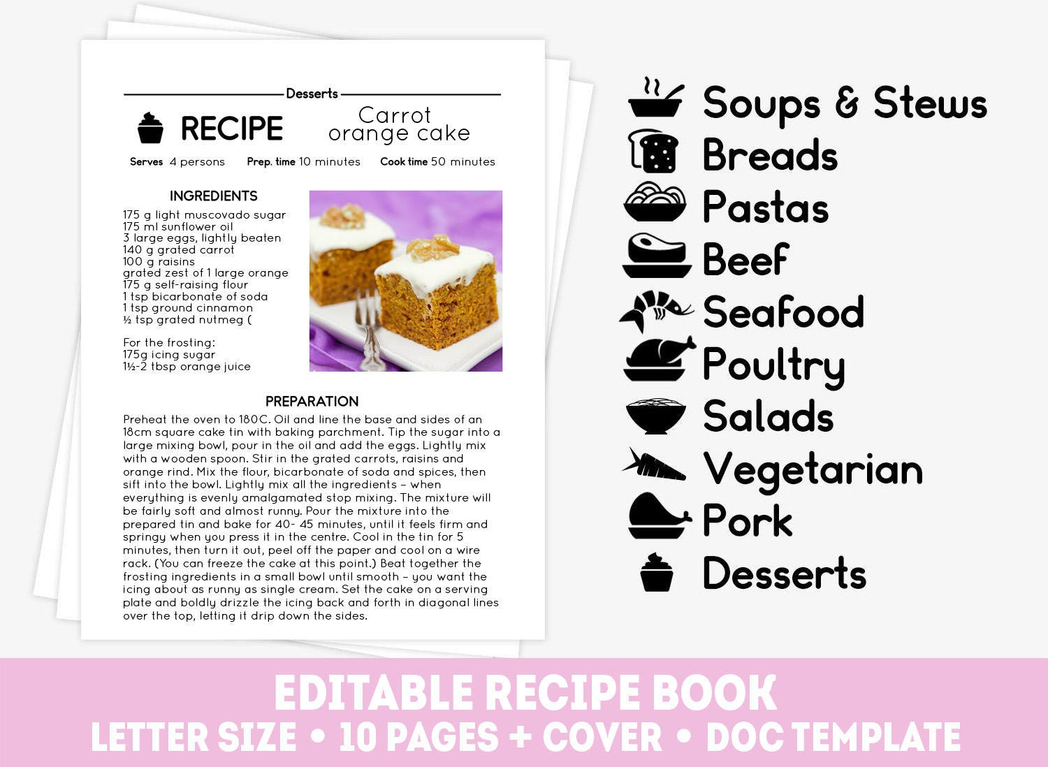 Big Recipe Template Set 10 Editable Recipe Pages And Cover Etsy
