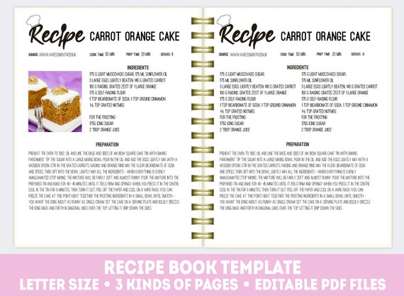 Editable Recipe Book Cookbook Template Recipe Binder Kit Etsy
