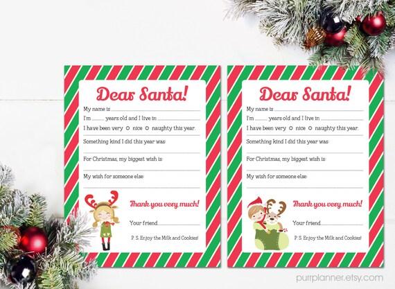 Printable Dear Santa Letter christmas wishlist kids letter   Etsy
