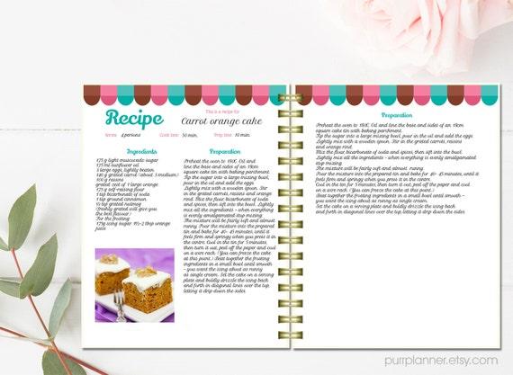 Plantilla de libro personalizada receta receta editable for Plantillas de cocina