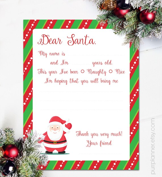 Printable Letter To Santa Claus Dear Christmas