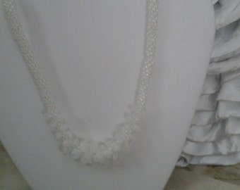 Bridal  Necklace in kumohimo  weave ,  white