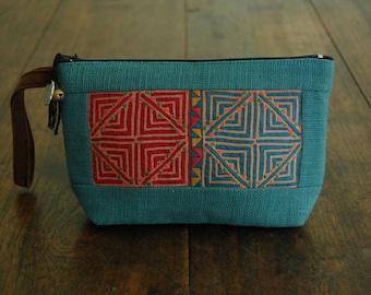 Hmong Makeup Bag - Blue Hemp with Recycled & Hand Embroidered Hmong Fabric