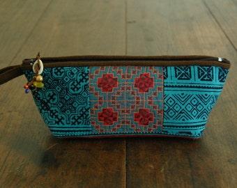 Hand Printed Blue Batik Pencil Bag with Vintage Hmong Fabric