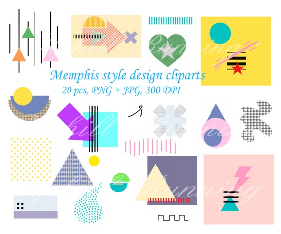 design elements memphis style clipart digital abstract etsy