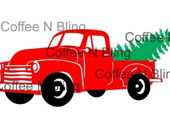 Vintage christmas truck svg, silhouette, cricut,  vinyl, digital file, christmas tree, tree farm svg,Christmas svg, vintage truck svg,